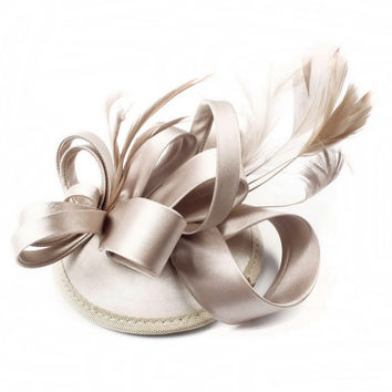 Feather Satin Fascinator Hair Clip