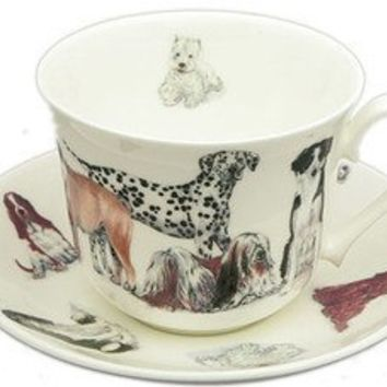 Dogs Galore English Bone China Tea Cups Set of 2