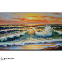 Oil Painting Original Art, Landscape Painting Seascape Painting, Large Wall Art Canvas Painting Ocean Art Horizontal Painting, FREE SHIPPING