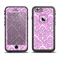 The Pink & White Delicate Pattern Apple iPhone 6 LifeProof Fre Case Skin Set