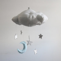 Luxe Moon and Leather Star Cloud Mobile in Metallic Leather and Linen - Nursery Decor - Free US Shipping