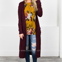 Fuzzy Knit Wine Maxi Cardigan