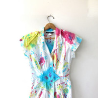 20% OFF SALE Vintage 80s dress. Tie dye dress. Button front dress. Fitted dress. Paint splattered avant garde dress.