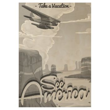 See America Vintage Cartoon Wood Poster