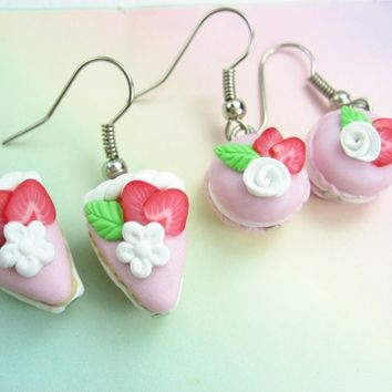 Mini Strawberry French Macaron and Cake Earrings (2pairs) Food Jewelry
