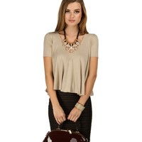 Sale-taupe Movement Of Life Top
