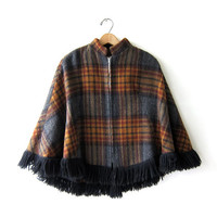 Vintage 60s plaid wool cape. Preppy Fall cloak poncho. Blanket coat. Fringe Capelet