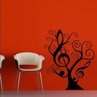 Wall Decal Decor Decals Art Sticker Note Music Song Heart Relax Star Tree Branch (M392)