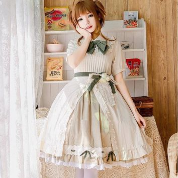 Japanese Anime cos Saturna Lolita Dress Tomoyo Party Cosplay Costume Kawaii Bow Ruffles Embroidery Women Dresses gx796