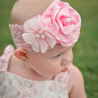 Pink Flower Headband, Pink Lace Headband, Pink Satin Headband, Baby Shower, Newborn Photo Prop, Newborn Infant Toddler Teen Adult Headband