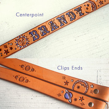 Custom Leather Camera Strap - Celestial pattern - Sun, Moon and Stars - Your choice of colors - Custom text - Made to Order by Mesa Dreams
