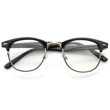 Vintage Optical RX Clear Lens Half Frame Glasses