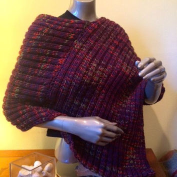 Djfleesh Big Head Ponshawl - Free Shipping - Poncho - Shawl - Hand Knit - Mixed Purples