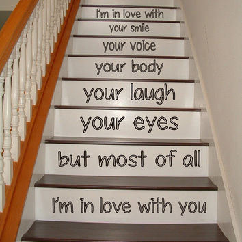 Wall Decals Love Staircase Stairway Stairs Inspirational Words Phrase Home Vinyl Decal Sticker Kids Nursery Baby Room Decor kk483