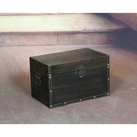 Decorative Leather Wooden Trunk - Quickway Imports