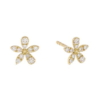 Diamond Flower Stud Earring 14K