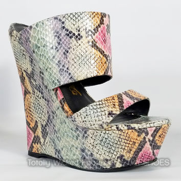 """Pacs Teal Gray Snake Double Strap Slip On Wedge Shoes - 6"""" Heels"""