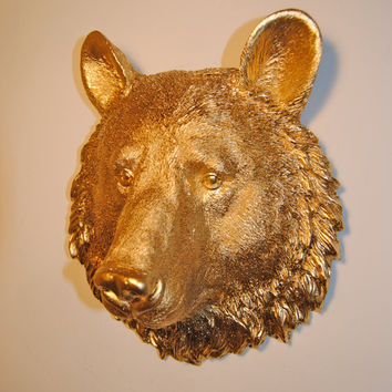 Faux Taxidermy - Miniature Gold Bear Wall Mount - Faux Taxidermy MBE08