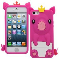 Fosmon JEL Series Silicone 3D Pig Case for Apple iPhone 5 / 5S (Hot Pink)