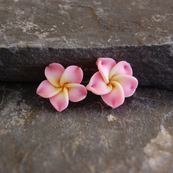 Polymer clay plumeria flower stud earrings