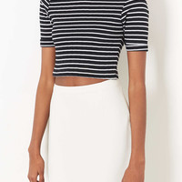 Petite High Neck Stripe Top