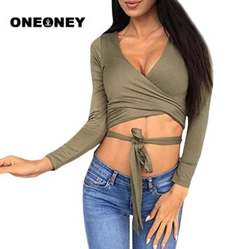 Woman Sexy Sports Long Sleeve Shirt Top Deep V neck Bandage knot Waist Split hollow out Slim Crop Top Yoga Dance Fitness Top