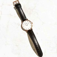 Breda Simple Black Leather Strap Watch