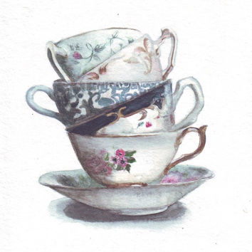 HM079 Original art watercolor painting of Teacups by Helga McLeod