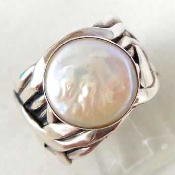 "Retired SILPADA Sterling Silver ""Mermaid"" Coin Pearl Ring Sz 8"