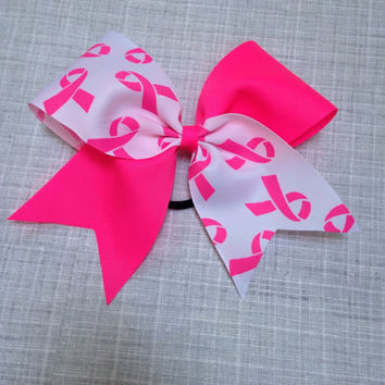 Neon pink Cheer Bow - Breast Cancer Awareness Month