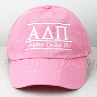 Alpha Delta Pi Sorority Line Design Baseball Cap - Custom Color Hat and Embroidery.