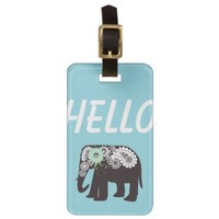 Paisley Elephant Girly Personalized Travel Bag / Luggage Tags