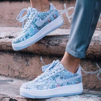 Nike Air Force 1 Upstep Low Diamond Crystal Shoes Sport Sneakers High Quality