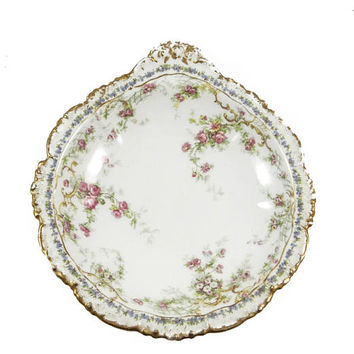Antique Jean Pouyat Limoges Dish with Roses and Gold Trim