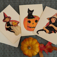 Vintage Inspired Victorian Halloween Cards. Set of 6 with Matching Envelopes