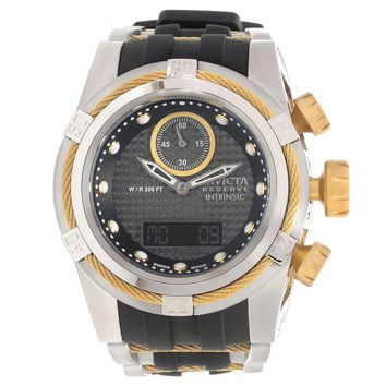 Invicta 12490 Men's Bolt Intrinsic Gold Tone Wire Bezel Ana-Digi Black Dial Chronograph Dive Watch