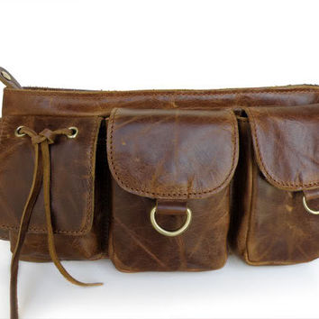 2014 Newest Top quality  Genuine Leather Unisex Waist Bag Fanny Pack Purse Chocolate
