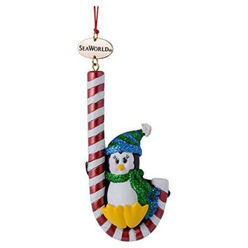 SeaWorld Penguin with Candy Cane Resin Christmas Ornament New with Tag