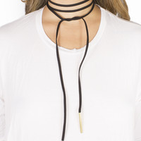 Black Clarity Leatherette Wrap Around Choker