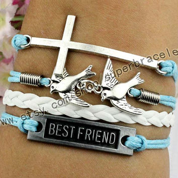 "Best friend Bracelet, birds bracelets, cross Bracelet, Antique Silver Bracelet, ""women cuff Bracelet, personalized friendship gift"