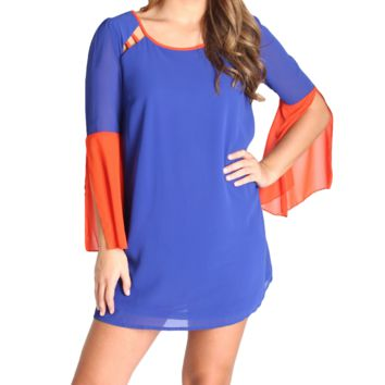 Umgee Blue and Orange A-Line Gameday Dress