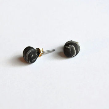 Black galaxy post studs - Polymer clay earrings - Black and white - Handmade with repurposed clay - Unique and small - New years studs