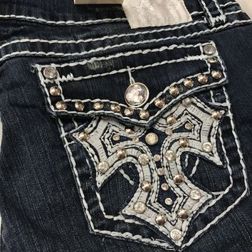 L.A. IDOL DISTRESSED SHINING CROSS CAPRIS