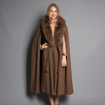 70s FOX Fur CAPE COAT / Soft Brown Wool Belted Winter Cloak