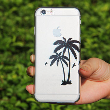 Crystal Transparent Black Palm Tree Birds iPhone 6 Case,iPhone 5S/5 Case,iPhone 5C Case Abstract Watercolor