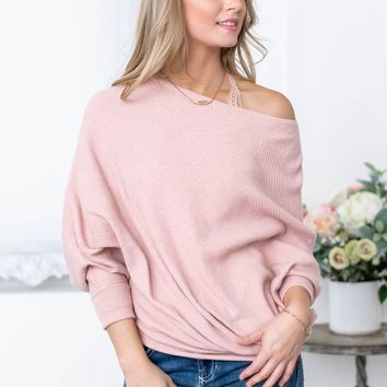 Off The Shoulder Pink Blush Sweater