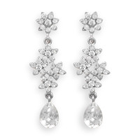 Silver Tone Floral Design Crystal Fashion Drop Earrings