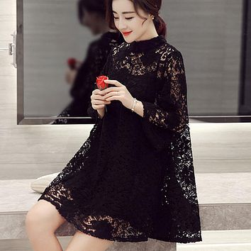 Summer Women Lace Hollow Loose Dress Casual Sweet O Neck Pullovers Three Quarter Sleeve Two pieces Ladies White Black Dresses