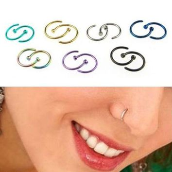 ac ICIKO2Q New 2PCS Classic Cute Open Hoop Stainless Steel Nose Ring Earrings Body Piercing for women 5U13 6SGL 7EJ9 85S7