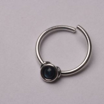 Conch Onyx Ring 925 sterling silver pierce it helix, tragus, hoop 16 gauge 10mm inner, tribal design face piercing Handcrafted jewelry